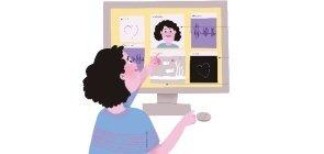 Ilustração menina olha para computador