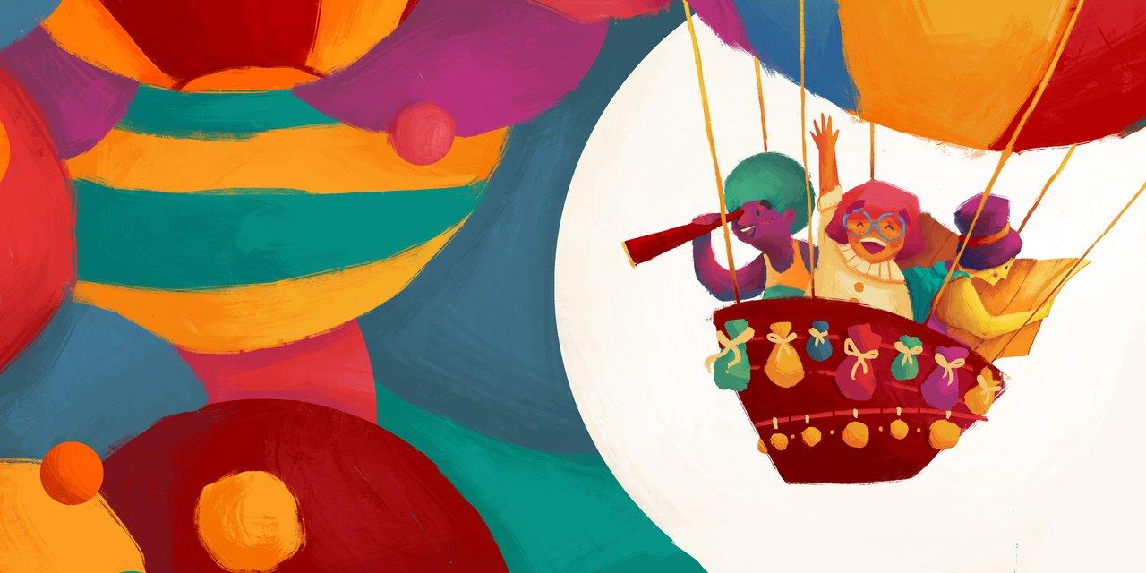 Ilustração colorida mostra um balão transportando pessoas