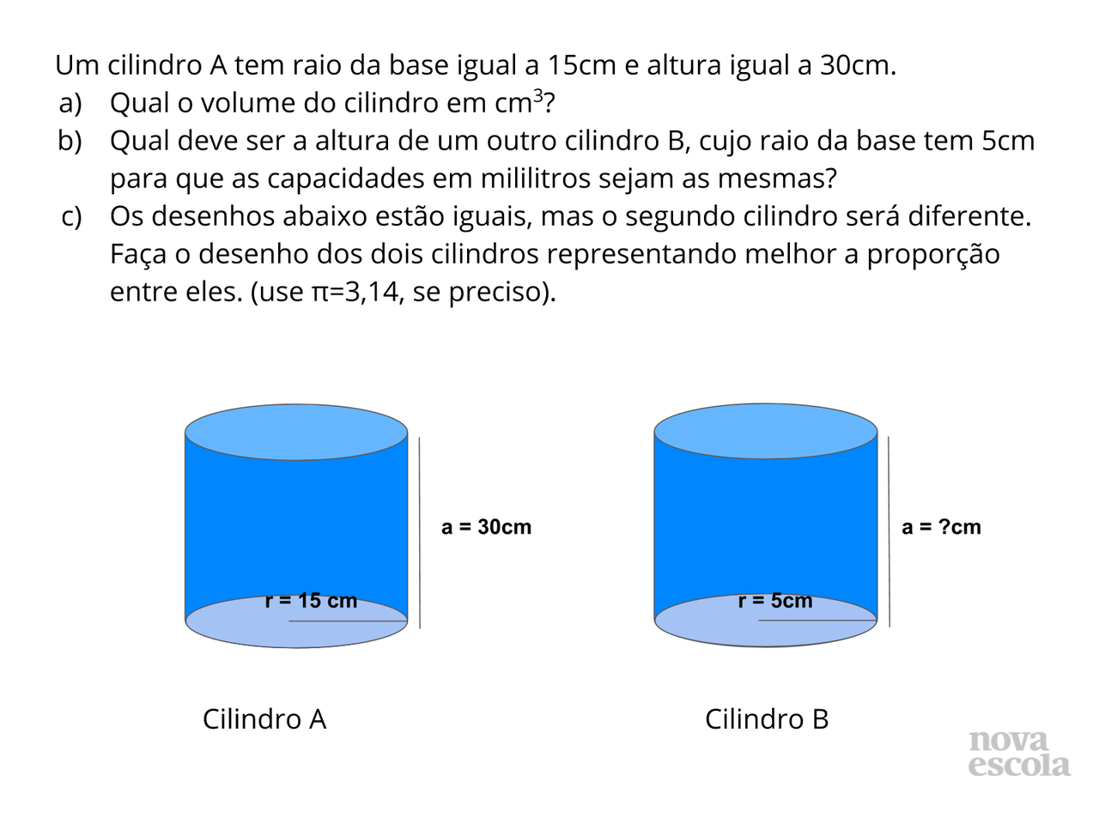 Volume e capacidade do cilindro reto
