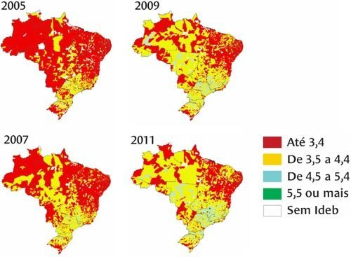 Mapas mostram a distribuição do índice obtido pelas escolas nos anos finais do Ensino Fundamental