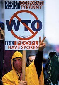 Protesto em Seattle em 1999: nova ordem vista como excludente. Foto: Paula A. Souders/Corbis