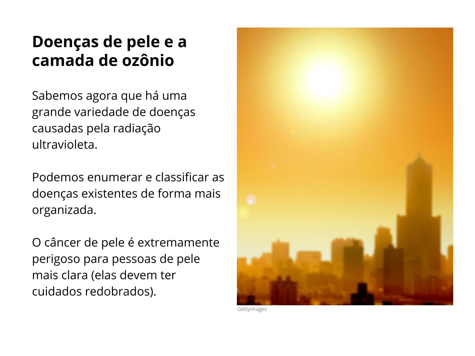 Doenças de pele e a camada de ozônio