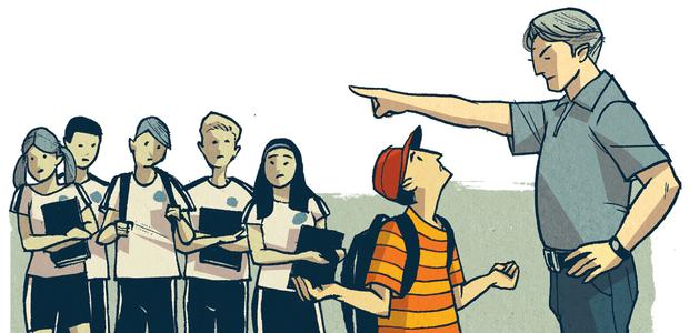 A escola não pode impedir a entrada de quem está sem o traje oficial porque isso fere o direito ao ensino, assegurado pela Constituição Federal. Ilustração: Olavo Costa