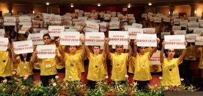 Participantes da Obmep protestam contra o corte de verbas para a competição