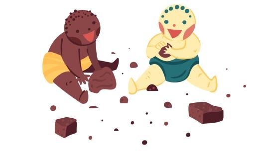 Marcas gráficas em argila com bebês