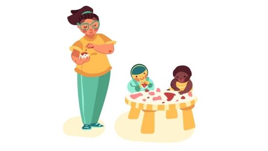 Tingir e misturar massas com os bebês