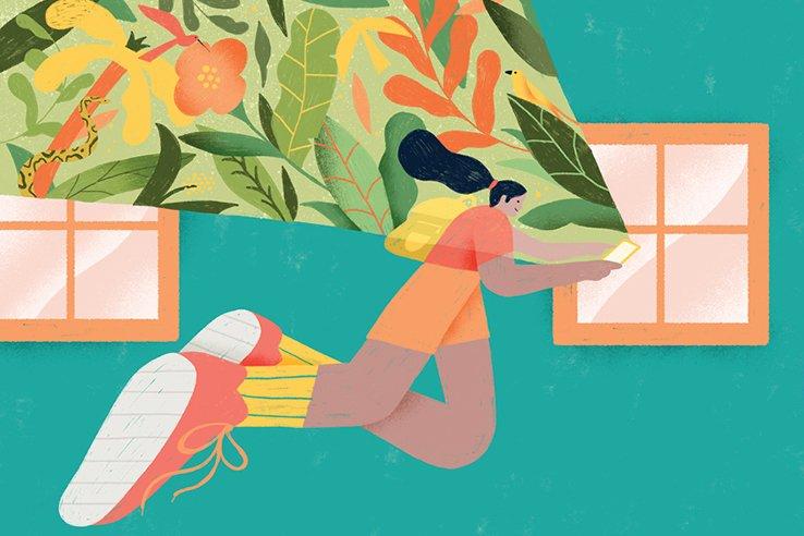 Ilustração abstrata de garota com celular em mãos flutuando em direção à janela. Da luz emitida pelo celular podemos ver elementos da natureza ocupando o espaço.