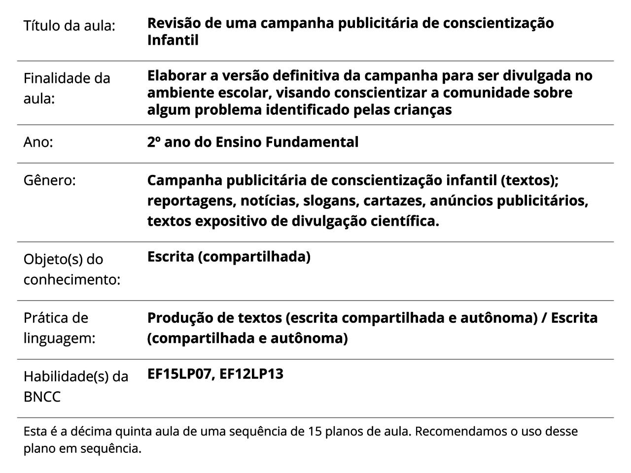Plano de Aula - 2º ano - Língua Portuguesa - Revisão de uma