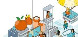 Ilustração com bonequinhos montando uma sala de aula