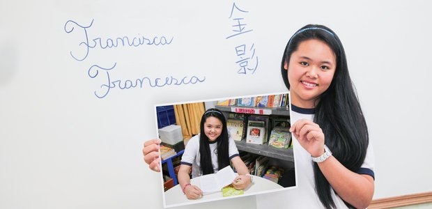 Francisca é filha de chineses, nasceu na Romênia e estuda em uma escola paulistana. Fotos: Manuela Novais
