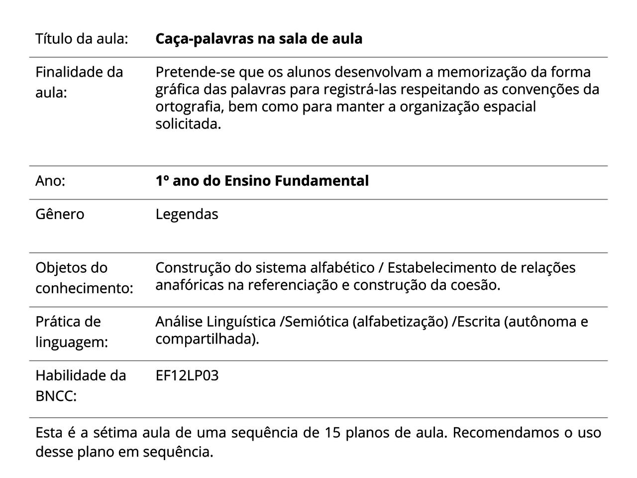 Plano De Aula 1º Ano Lingua Portuguesa Caca Palavras Na Sala