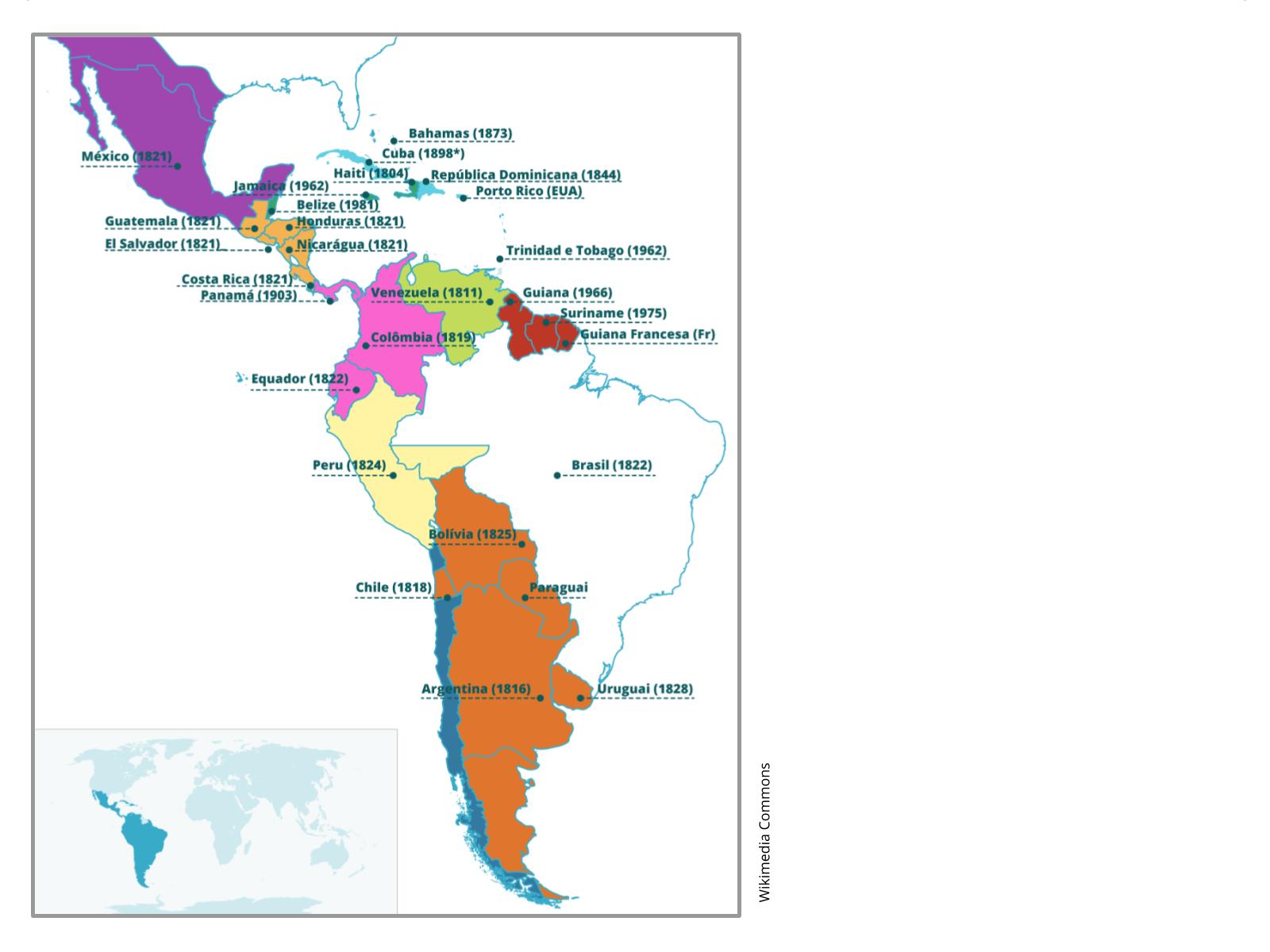 A independência da América Espanhola: Estados e territórios em construção