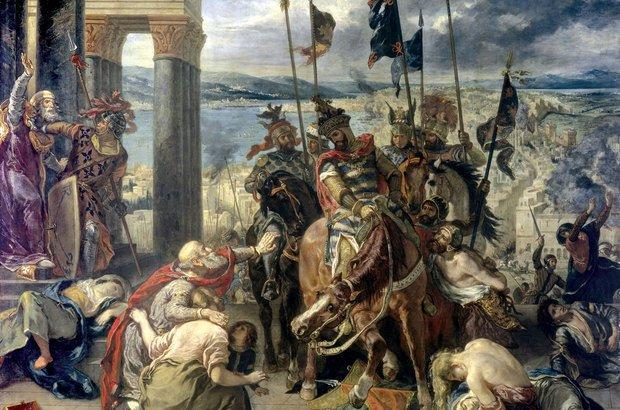 A captura de Constantinopla pelos cristãos, em tela de Eugene Delacroix. Getty Images/Peter Willi