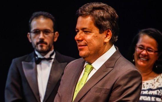 Retrato do ministro da Educação, Mendonça Filho, na cerimônia do Prêmio Educador Nota 10