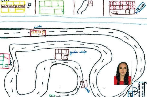 Graças ao seu registro, Larissa pôde pensar em rotas alternativas para os trajetos do dia a dia. Ilustração: reprodução. Foto: Arquivo pessoal/Larissa Pacheco Pereira