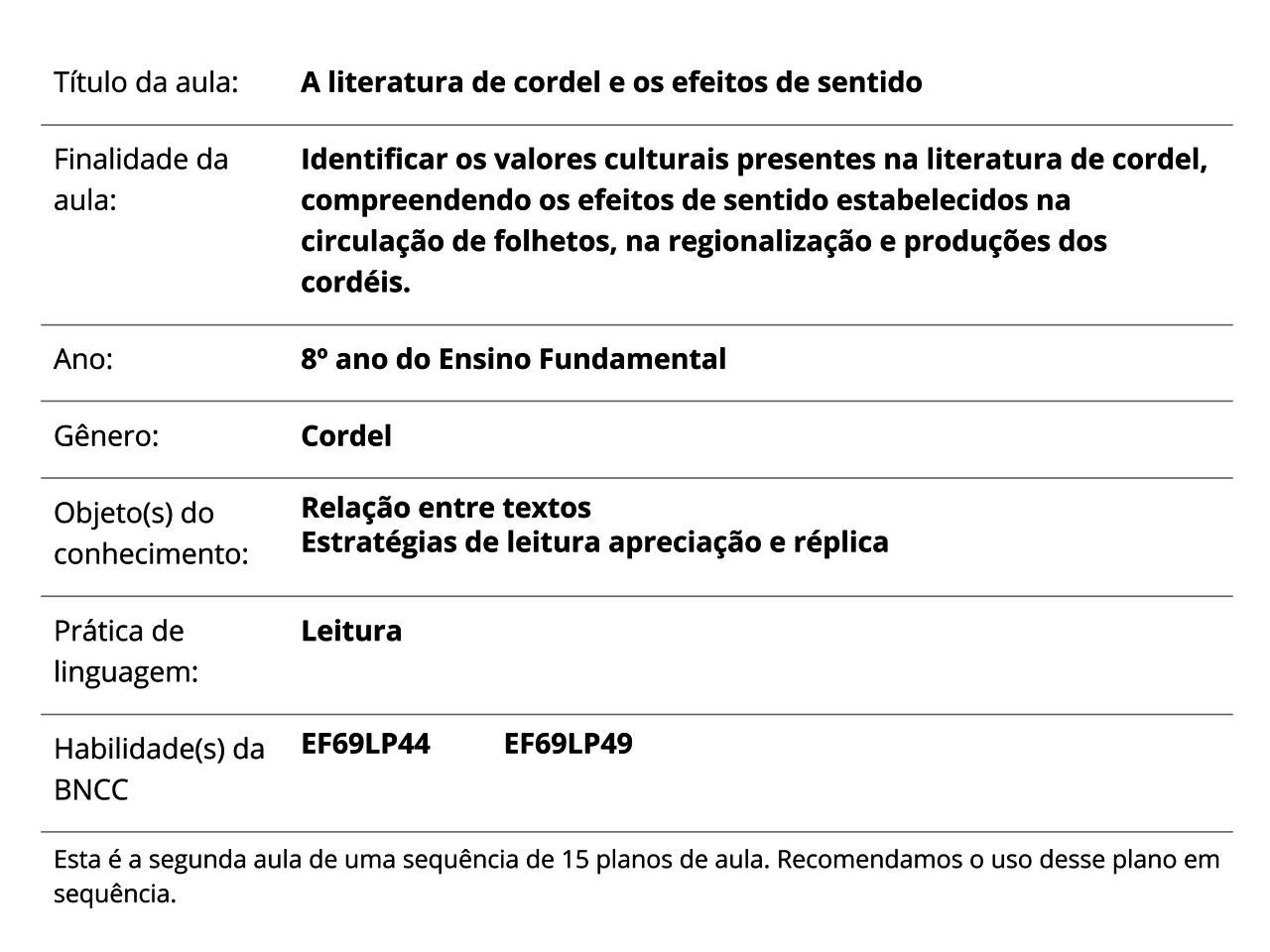 Plano De Aula 8º Ano Lingua Portuguesa A Literatura De