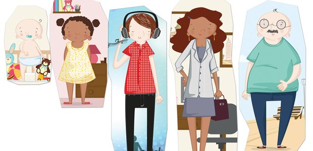 Na EM Newton Borges dos Reis, as crianças do 2º ano buscaram em revistas imagens representativas de várias faixas etárias. Ilustração: Marilia Bruno