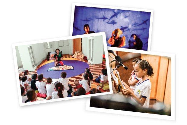Uma peça teatral e uma oficina de contação de histórias ajudaram no trabalho de oralidade. Fotos Arquivo pessoal/Fabiana Barboza/Divulgação