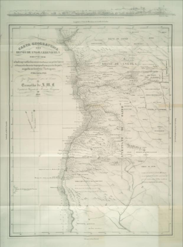 Mapa produzido pelo Comandante José Joaquim Lopes de Lima na década de 1840 dos antigos reinos de Angola e Benguela, na África centro-ocidental.(Reprodução: Slave Voyagers)
