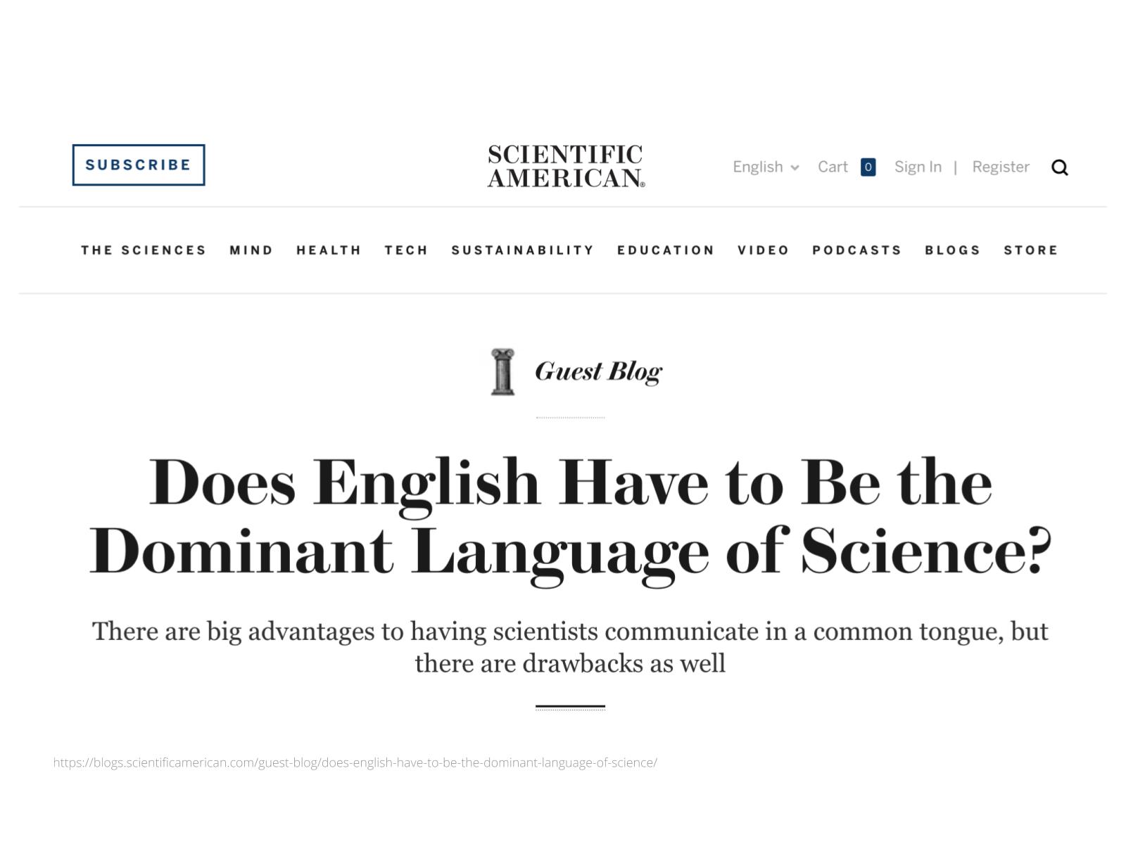 O inglês como língua da ciência (2)