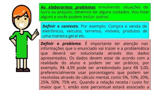 Elaborando problemas envolvendo percentuais de lucro ou prejuízo