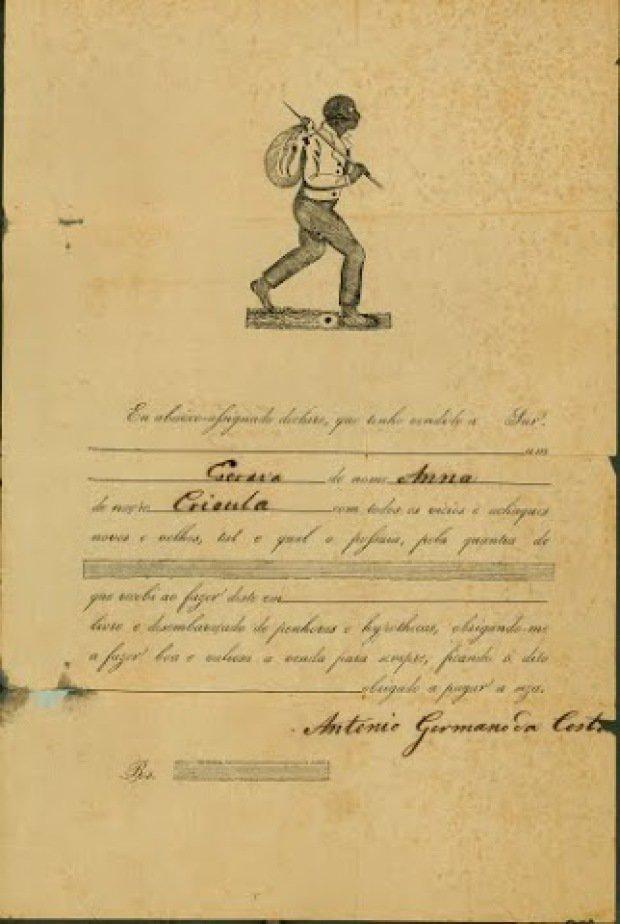 Declaração de venda da escrava Ana registrada em cartório de São Paulo (sem data). (Reprodução Fundação Casa de Rui Barbosa/Arquivo)