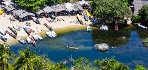 Vista aérea da praia do Bonete, em Ilhabela, litoral norte de São Paulo