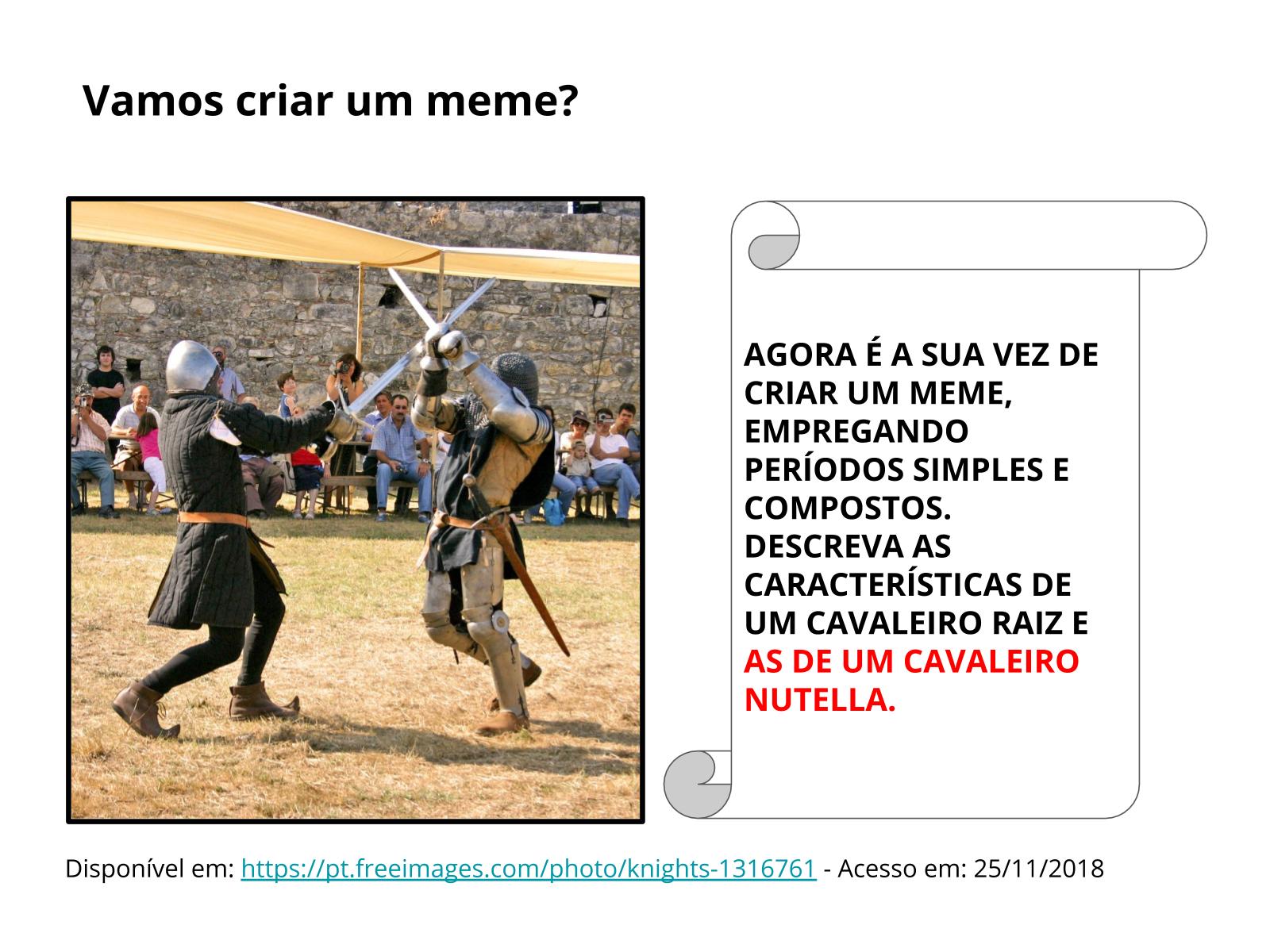 Períodos simples e compostos no gênero meme