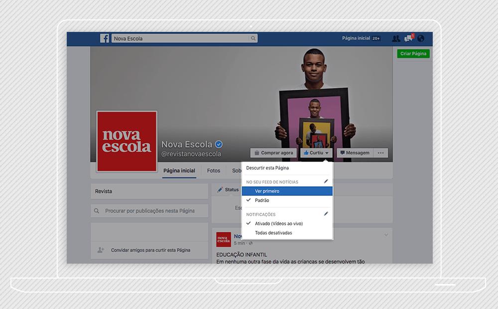 """Reprodução da fan page da nova escola no facebook com a indicação de apertar o botão """"curtiu"""" e """"ver primeiro"""""""