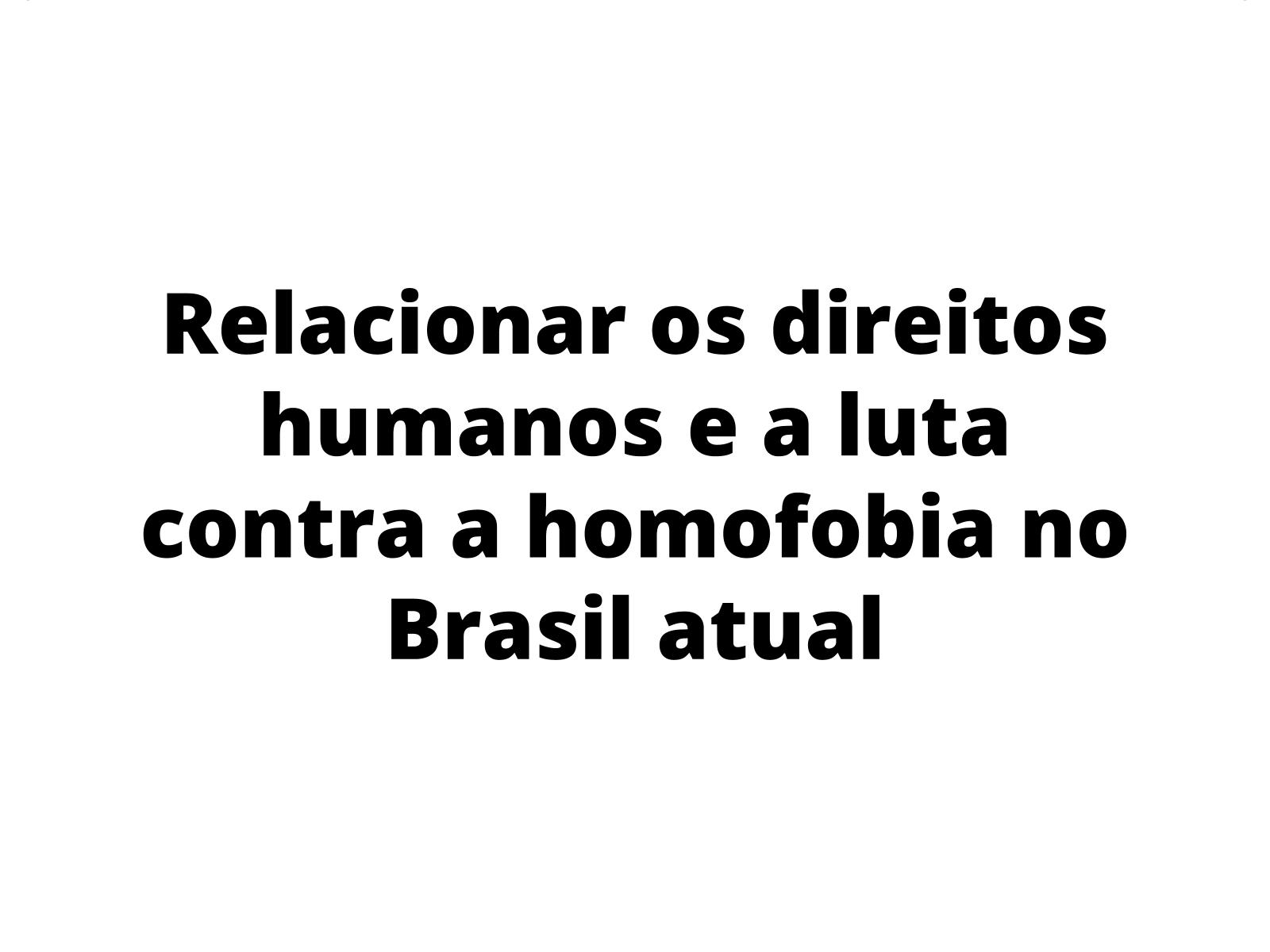 Direitos humanos e combate à homofobia