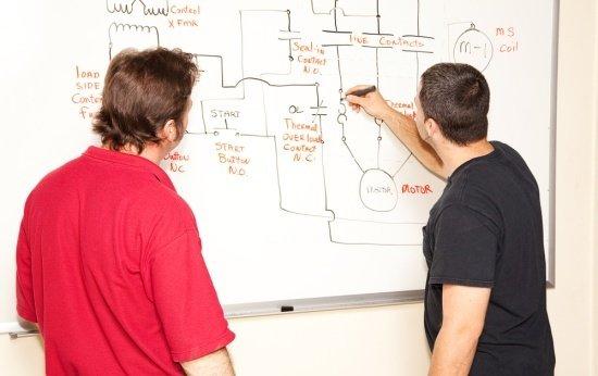 Dois homens adultos de costas desenhando um circuito no quadro branco