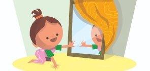 """""""Quem está aí?"""" - Brincando com o reflexo no espelho"""
