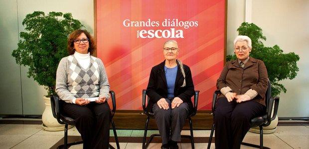 A educadora Emilia Ferreiro, entre Regina Scarpa, coordenadora pedagógica da FVC, e Telma Weisz. Foto: Patricia Stavis