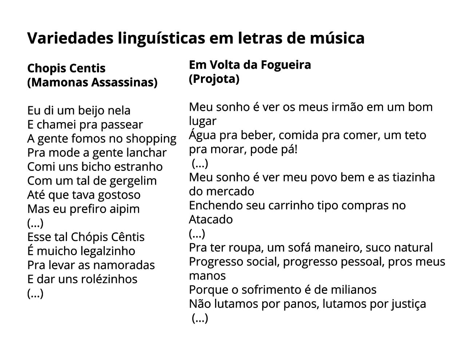Variedades da língua  portuguesa