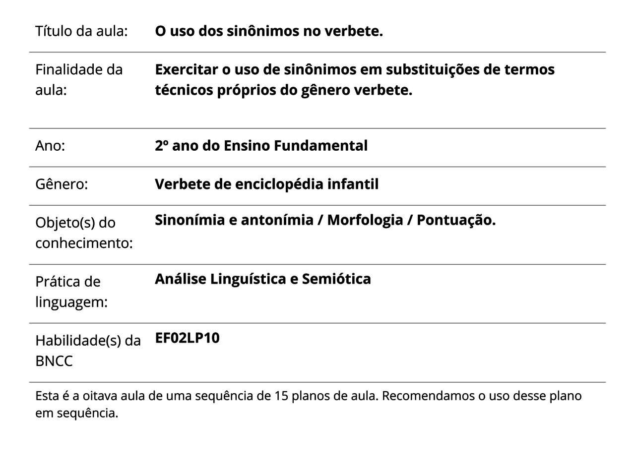 Plano De Aula 2º Ano Língua Portuguesa O Uso Dos