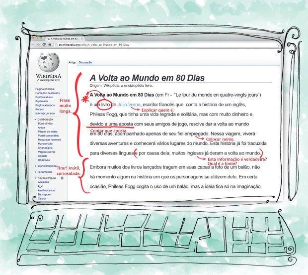 Os alunos identificaram problemas gramaticais e de conteúdo no verbete analisado. Reprodução Wikimedia Foundation Inc. Ilustração Alice Vasconcellos
