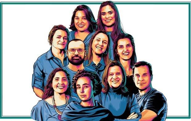 Ilustração dos 10 vencedores do premio educador nota 10