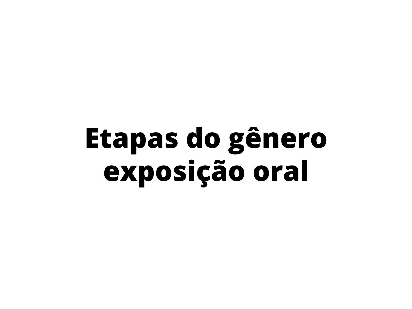 Aspectos de etapas da exposição oral