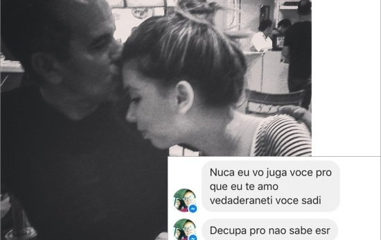 Foto de moça beijando o pai e imagem da mensagem que eles trocaram no WhatsApp