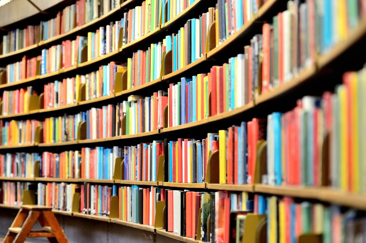 Livros na Biblioteca, em prateleiras curvas