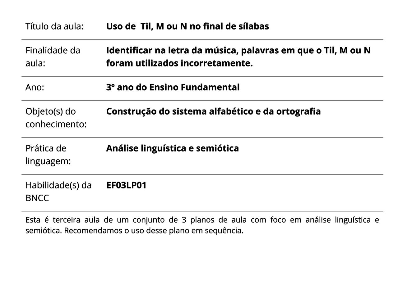 f71a34f8f9cb4 Plano de Aula - 3º ano - Língua Portuguesa - Uso de Til