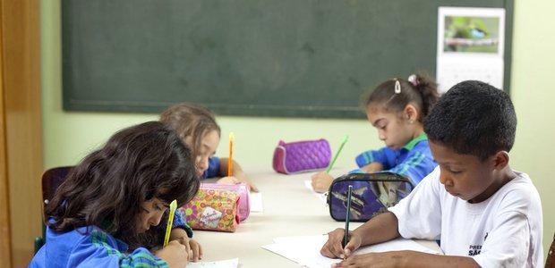 Crianças da pré-escola da Escola de Educação Infantil do Ses. Imagem:Tamires Kopp