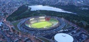 Vista aérea do estádio no município de Uberlândia, em Minas Gerais