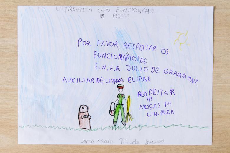 Desenhos das crianças na EMEB Julio de Grammont