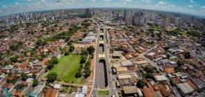 Vista aérea de Cuiabá, no Mato Grosso