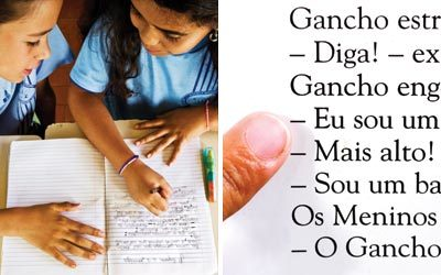 ESCOLHA CERTEIRA (à esq.) O trabalho fica mais rico com a troca de opiniões. Em duplas, as crianças decidem quais os melhores recursos ANÁLISE DO SENTIDO Na leitura de textos de autores consagrados e gêneros variados, os alunos refletem sobre os sinais