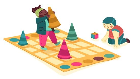 """Brincadeiras com os dados coloridos durante a """"Corrida dos Cones"""""""
