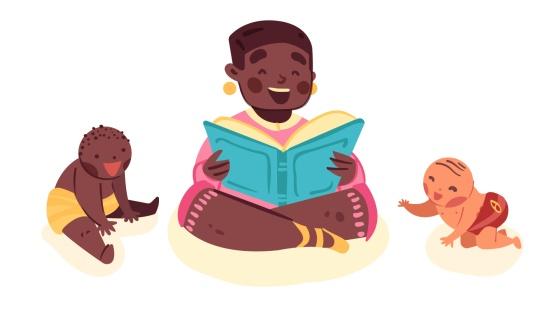 Leitura em pequenos grupos de bebês