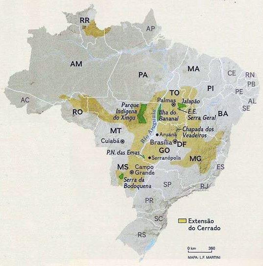 Mapa 1 - Cerrado: cobertura inicial. Fonte: National Geographic Brasil, out. 2008, p. 63