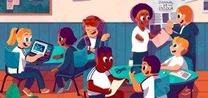 Ilustração de duas mesas redondas com adolescentes trabalhando em grupos